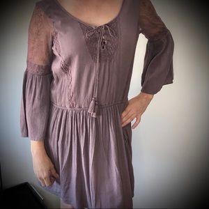 American Eagle Purple Boho Dress With Lace
